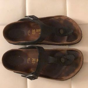 Birkenstock gizeh thong sandal black leather 36